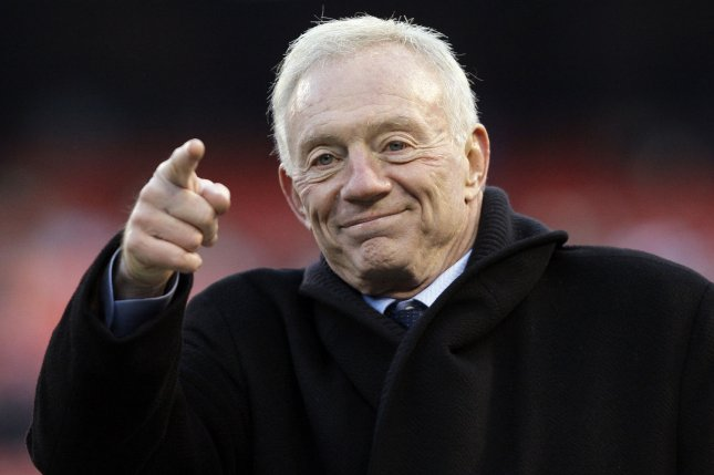 Dallas Cowboys owner Jerry Jones reacts on the field before a game between the Cowboys and the New York Giants in Week 13 of the NFL season on December 6, 2009 at MetLife Stadium in East Rutherford, New Jersey. File photo by John Angelillo/UPI