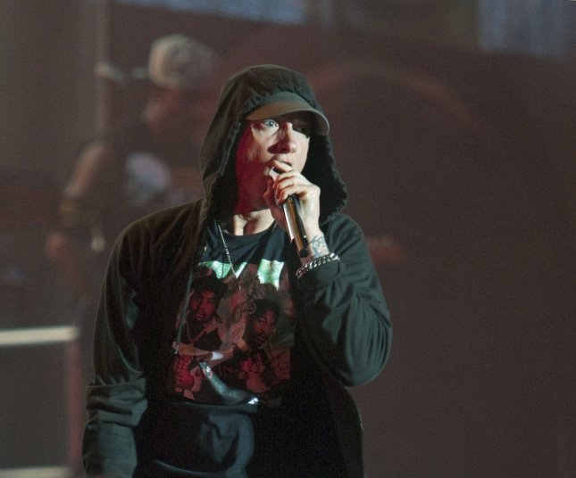 Eminem briefly appeared in an SNL parody of his song Stan this weekend. File Photo by Heinz Ruckemann/UPI