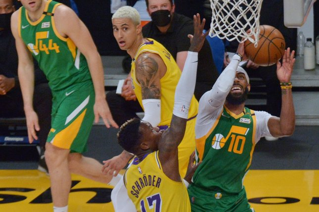 Utah Jazz guard Mike Conley (10), shown April 19, 2021, will miss Game 1 against the Los Angeles Clippers on Tuesday night because of a right hamstring strain. File Photo by Jim Ruymen/UPI
