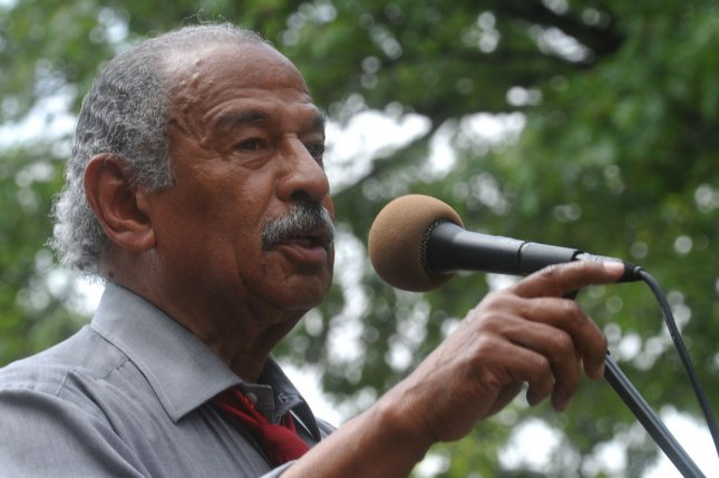 Rep. John Conyers (D-MI) speaks at a healthcare reform rally on the 44th birthday of Medicare on Capitol Hill in Washington on July 30, 2009. (UPI Photo/Kevin Dietsch)