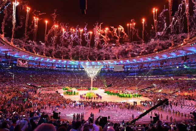 Fireworks light up the stadium at the 2016 Rio Summer Olympics in Rio de Janeiro, Brazil, August 21, 2016. Photo by Terry Schmitt/UPI
