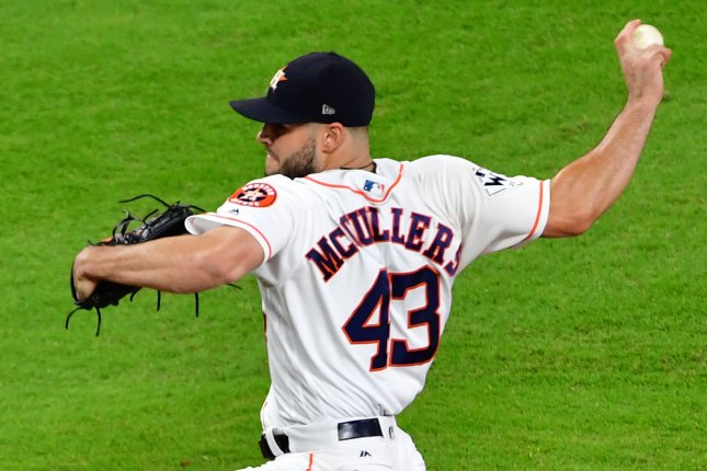 Houston Astros starting pitcher Lance McCullers, Jr. throws against the Los Angeles Dodgers in the first inning of the 2017 MLB World Series in game three at Minute Maid Park in Houston, Texas on October 27, 2017. File photo by Kevin Dietsch/UPI