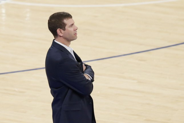 Boston Celtics head coach Brad Stevens stands near the bench in the second half against the New York Knicks on February 24, 2018 at Madison Square Garden in New York City. Photo by John Angelillo/UPI