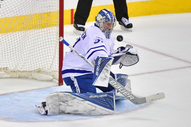 Toronto Maple Leafs goalie Frederik Andersen (31) was activated from injured reserve prior to the Maple Leafs' home game against the Colorado Avalanche on Monday night. File photo by Kevin Dietsch/UPI