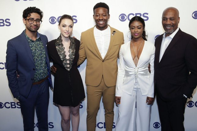 Left to right, Suraj Sharma, Violett Beane, Brandon Micheal Hall, Javicia Leslie and Joe Morton arrive at the 2018 CBS Upfront in New York City in 2018. Their show God Friended Me was canceled this week after two seasons. File Photo by John Angelillo/UPI