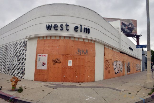 The West Elm furniture store is seen boarded up on Beverly Boulevard in Los Angeles, Calif., on April 12, as a result of the coronavirus crisis. Photo by Jim Ruymen/UPI