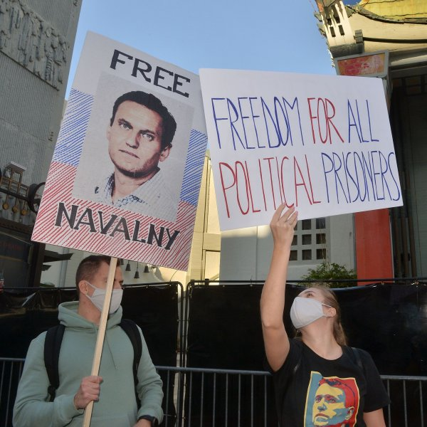 Members of the local Russian community in Los Angeles, Calif., rally at a demonstration to support jailed opposition leader Alexi Navalny, at the TCL Chinese Theatre in Hollywood on February 6, 2021. Photo by Jim Ruymen/UPI