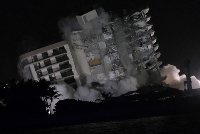 Demolition crews imploded what was left of Champlain Towers South condo in Surfside, Florida, on Sunday. Photo By Gary I Rothstein/UPI