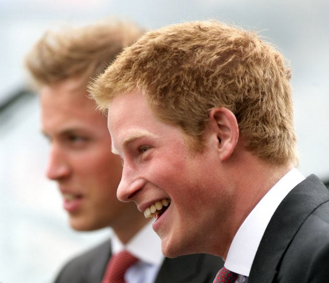 Prince Harry and Prince William arrive at Windsor's Guildhall for the marriage of Prince Charles and Camilla Parker Bowles in Windsor on April 09, 2005.(UPI Photo/Hugo Philpott)