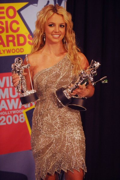 Britney Spears at the 2008 MTV Video Music Awards in Los Angeles on September 7, 2008. (UPI Photo/Jim Ruymen)
