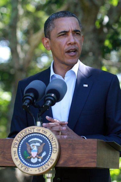 President Obama speaks on the ongoing situation in Libya at his vacation home on Blue Heron Farm in Chilmark, Massachusetts on August 22, 2011. UPIVincent Dewitt/Pool