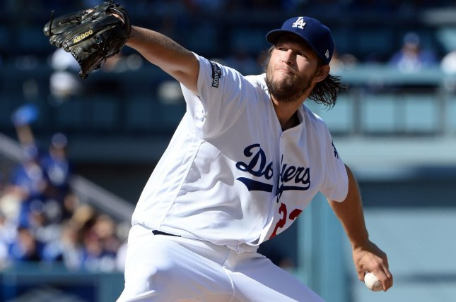 Los Angeles Dodgers starting pitcher Clayton Kershaw (22) delivers a pitch. File photo by Jim Ruymen/UPI