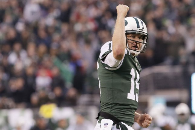 New York Jets quarterback Josh McCown celebrates after the Jets score on a two-point conversion in the fourth quarter against the Kansas City Chiefs in Week 13 of the NFL season on December 3, 2017 at MetLife Stadium in East Rutherford, New Jersey. Photo by John Angelillo/UPI