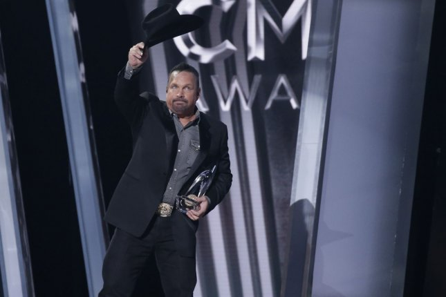Singer Garth Brooks won the top prize -- Entertainer of the Year -- at the CMA Awards ceremony in Nashville on Wednesday. Photo by John Angelillo/UPI