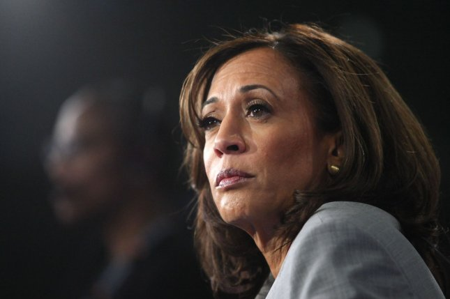 Sen. Kamala Harris, D-Calif., said Tuesday her campaign doesn't have the financial resources to continue. Photo by Tami Chappell/UPI