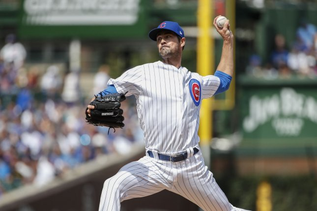 Former Chicago Cubs starting pitcher Cole Hamels had a 7-7 record and 143 strikeouts with a 3.81 ERA last season. File Photo by Kamil Krzaczynski/UPI