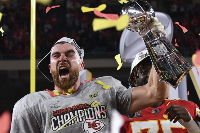 Kansas City Chiefs tight end Travis Kelce holds the Lombardi Trophy after the Chiefs defeated the San Francisco 49ers in Super Bowl LIV on Feb. 2, 2020, at Hard Rock Stadium in Miami Gardens, Fla. Kelce is a five-time Pro Bowl selection and four-time All-Pro choice. File Photo by Kevin Dietsch/UPI
