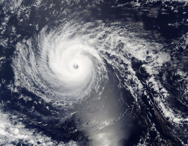This NASA Aqua/MODIS satellite image taken on September 1, 2016, shows Hurricane Lester approaching Hawaii. Lester weakened slightly as it approached the Hawaiian islands early Friday, September 2, but registered as a Category 3 storm with sustained winds up to 115 mph. NASA/UPI