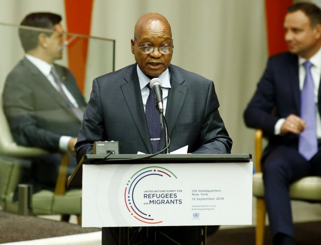 South African President Jacob Zuma, here at the United Nations in September, is under fire for alleged graft and corruption within his government. Demonstrations calling for his resignation drew thousands in Pretoria Wednesday. File Photo by Monika Graff/UPI
