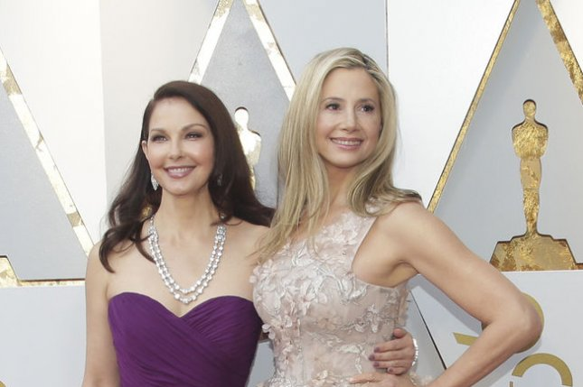 Ashley Judd (L) presented a special video on diversity at the Oscars featuring Mira Sorvino. File Photo by John Angelillo/UPI