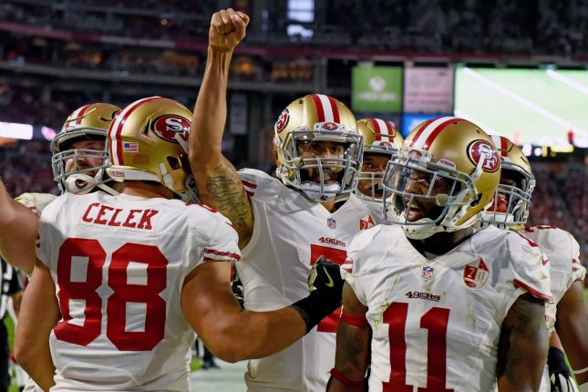 An unnamed NFL team is said to be interested in free agent quarterback Colin Kaepernick (7) this off-season. File Photo by Art Foxall/UPI