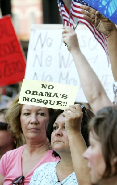 Protesters rally against a proposed Ground Zero Islamic center, to include a mosque, in New York, Sept. 11, 2010. UPI /Monika Graff