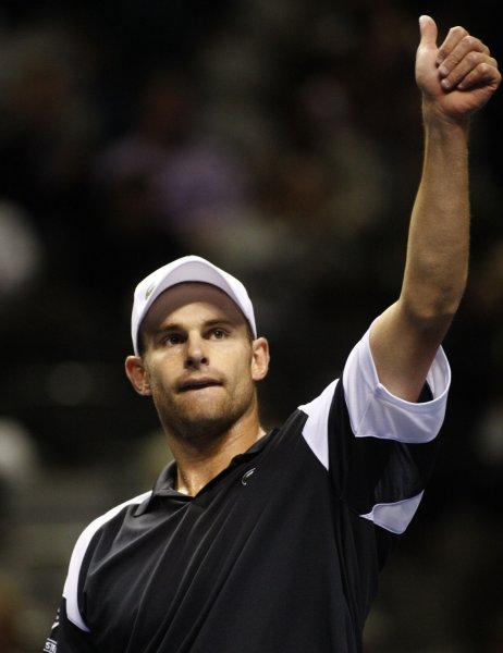 Andy Roddick, shown after winning the recent SAP Open in San Jose, Calif., will be the top-ranked player for the United States in next week's Davis Cup matches against Switzerland. (UPI Photo/ Terry Schmitt)