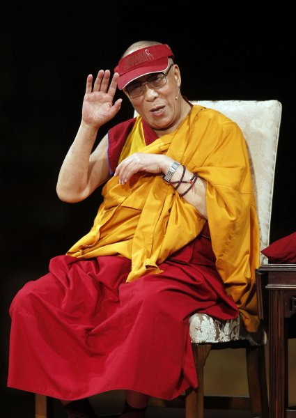 The Dalai Lama speaks during a panel discussion at the Cathedral Church of Saint John the Divine in New York, May 23, 2010 .UPI/Jason DeCrow/Pool
