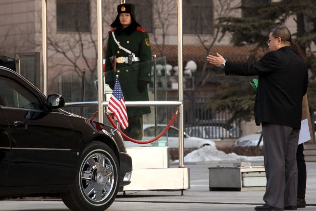 U.S. Ambassador to China Jon Huntsman's car arrives at Beijing's High People's Court to attend the ruling on U.S. geologist Xue Feng February 18, 2011. Huntsman, who is eyeing a possible run for the White House, decried the court for rejecting the appeal of the American jailed on industrial spying charges. Photo by Stephen Shaver/UPI