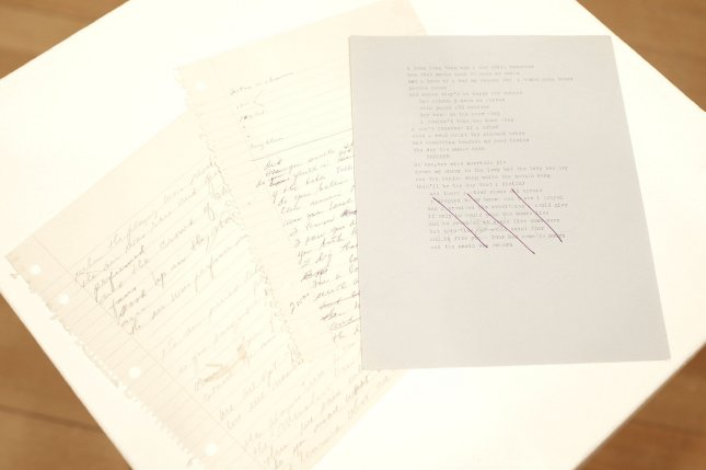Pages from Don McLean's original manuscript for American Pie on a table at Christie's in New York City on April 2, 2015. Photo by John Angelillo/UPI