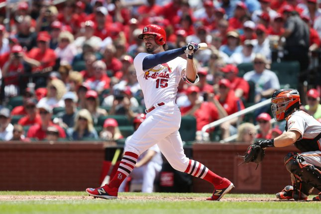 St. Louis Cardinals Randal Grichuk belted five RBIs in Thursday's 10-4 over the Arizona Diamondbacks. Photo by Bill Greenblatt/UPI
