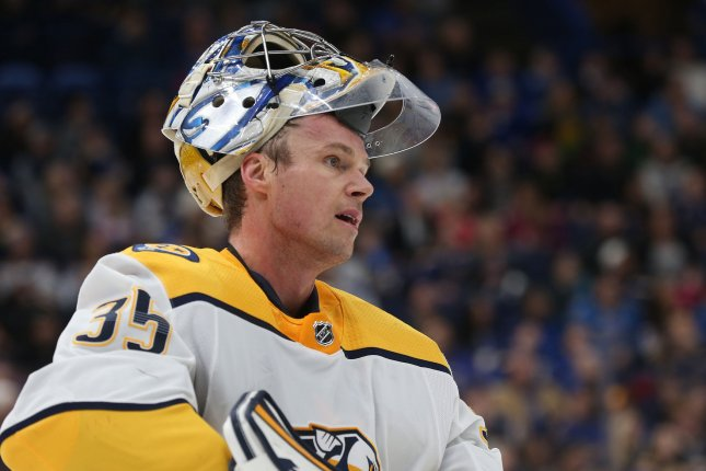 Nashville Predators goaltender Pekka Rinne skates to the bench during a time out in the first period against the St. Louis Blues on December 27, 2017 at the Scottrade Center in St. Louis. Photo by BIll Greenblatt/UPI