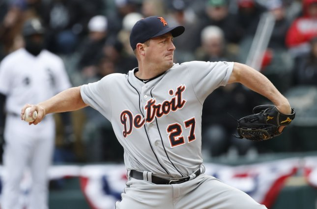 Jordan Zimmermann and the Detroit Tigers face the Texas Rangers on Friday. Photo by Kamil Krzaczynski/UPI
