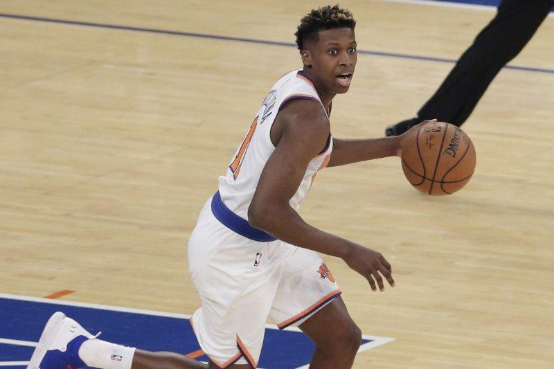Frank Ntilikina and the New York Knicks square off with the Orlando Magic on Sunday. Photo by John Angelillo/UPI