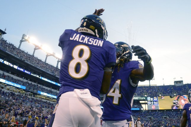 Baltimore Ravens quarterback Lamar Jackson (8) celebrates after a touchdown against the Los Angeles Rams during the first half of a preseason NFL game on August 9, 2018 at M&T Bank Stadium in Baltimore, Maryland. Photo by David Tulis/UPI