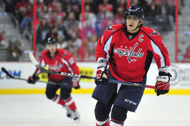 Alexander Ovechkin and the Washington Capitals face the Carolina Hurricanes on Thursday. Photo by Kevin Dietsch/UPI