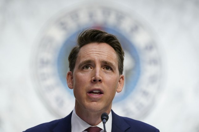 Missouri Sen. Josh Hawley speaks on October 12 during the confirmation process for then-Supreme Court nominee Amy Coney Barrett, on Capitol Hill in Washington, D.C. File Photo by Susan Walsh/UPI/Pool