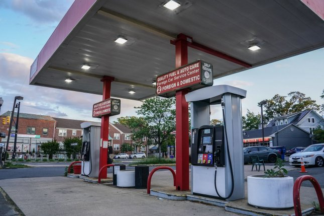 No Gas signs are posted on the gas pumps of an Arlington, Va., gas station which had been affected by the Colonial Pipeline cyberattack on Thursday. Photo by Jemal Countess/UPI