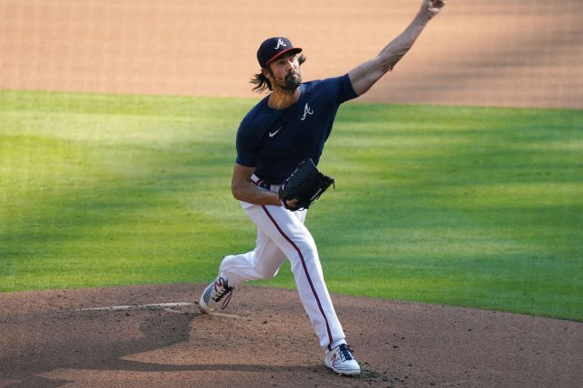 Former Atlanta Braves pitcher Cole Hamels, shown Sept. 6, 2020, was limited to just one start for the club last season due to shoulder and triceps injuries. File Photo by Tami Chappell/UPI