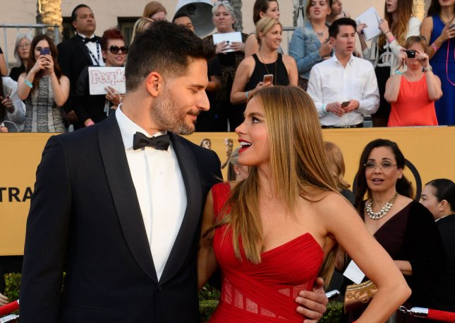 Joe Manganiello, left, and Sofia Vergara arrive for the 21st annual SAG Awards held at the Shrine Auditorium in Los Angeles on Jan. 25, 2015. Photo by Jim Ruymen/UPI