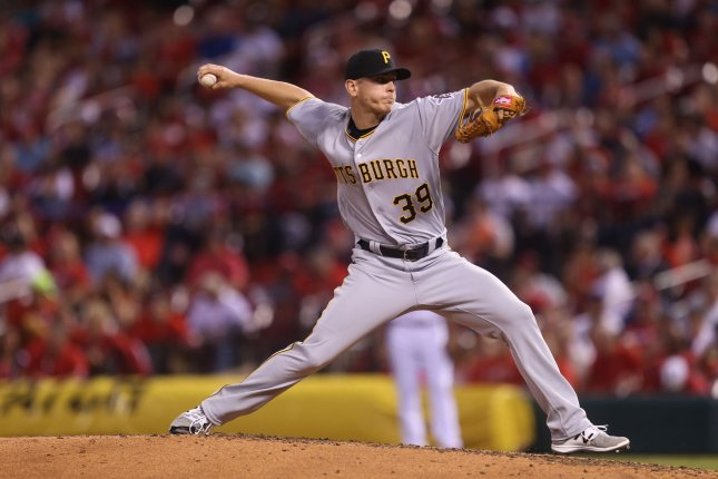 Pittsburgh Pirates starting pitcher Chad Kuhl delivers a pitch. File photo by Bill Greenblatt/UPI