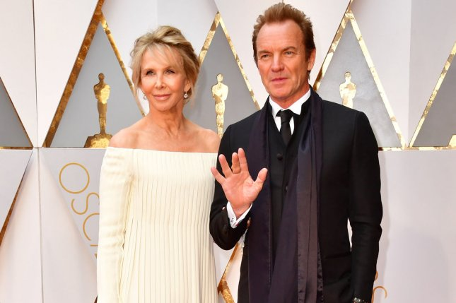 Sting (R) and wife Trudie Styler (L) arrive on the red carpet for the 89th annual Academy Awards on February 26. Sting will perform during a Leonard Cohen tribute concert that will also feature Lana Del Rey and Elvis Costello. File Photo by Kevin Dietsch/UPI