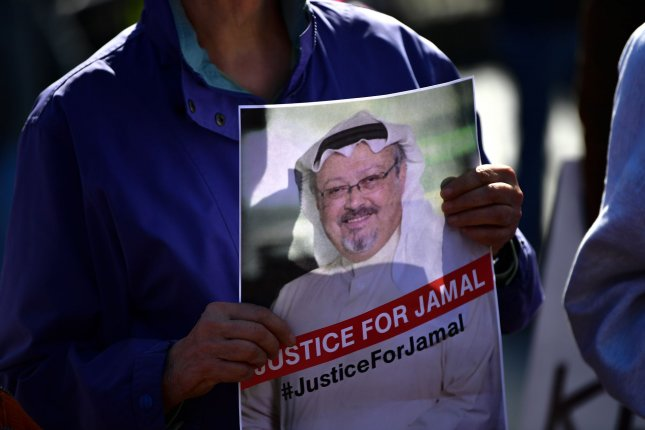 Protesters demonstrate outside the White House to call attention to the disappearance and death of Saudi Arabian journalist Jamal Khashoggi, in Washington, D.C. on October 19, 2018. File Photo by Kevin Dietsch/UPI
