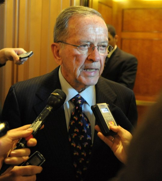 Sen. Ted Stevens, R-AK, departs the Senate floor, likely for the last time, on Capitol Hill in Washington on November 20, 2008. Stevens, convicted on seven counts of corruption, was narrowly defeated by Mark Begich, the mayor of Anchorage, in his bid for an eighth term. (UPI Photo/Roger L. Wollenberg)