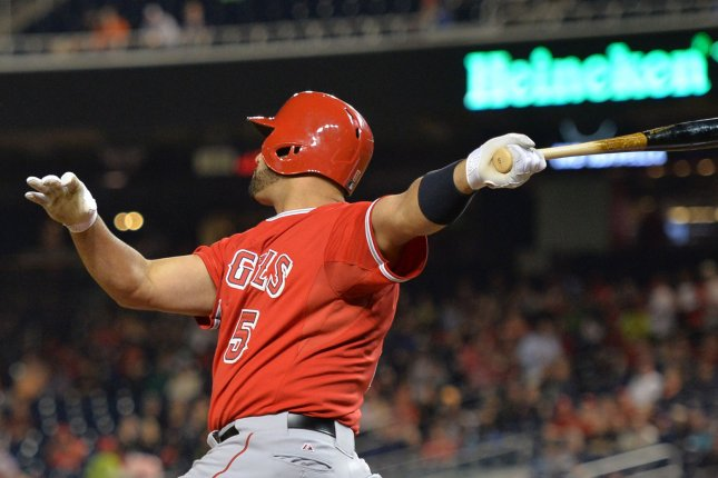 L.A. Angles Albert Pujols connects for his 500th career home run, hitting a two-run home run in the fifth inning against the Washington Nationals, at Nationals Park in Washington, D.C. on April 22, 2014. UPI/Kevin Dietsch