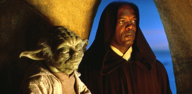 Jedi Masters Yoda (Frank Oz) and Mace Windu (Sameul L. Jackson) ponder the meaning of a major disturbance in the Force in this scene from Star Wars: Episode I The Phantom Menace. File Photo by Keith Hamshere/Lucasfilm/UPI