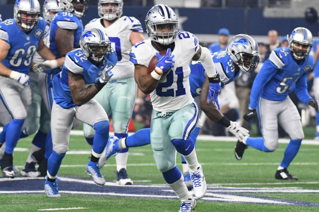 Dallas Cowboys RB Ezekiel Elliott scores on a 55-yard touchdown against the Detroit Lions during the first half at AT&T Stadium in Arlington, Texas on December 26, 2016. File photo by Ian Halperin/UPI
