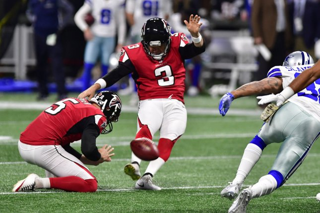 Atlanta Falcons kicker Matt Bryant (3) kicks a 50-yard field goal against the Dallas Cowboys during the first half of an NFL game on November 12, 2017 at Mercedes Benz Stadium in Atlanta. Photo by David Tulis/UPI
