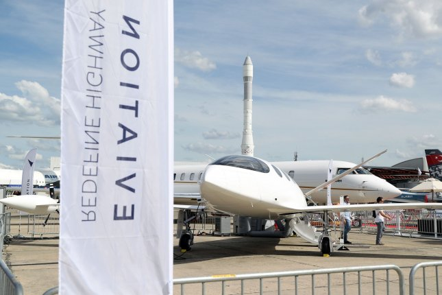 Eviation's all-electric prototype is seen Monday at the 53rd international Paris Air Show at Le Bourget, North of Paris. Photo by Eco Clement/UPI