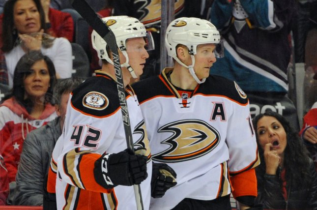 Anaheim Ducks right wing Corey Perry (R) was released after the Ducks bought out the final two years of his contract. File Photo by Mark Goldman/UPI